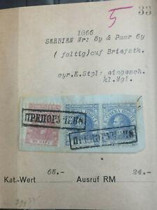 Lot 82 alte Serbien Briefmarken auf Briefstück, aus altem Händlerlager