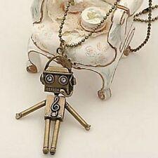collar cadena larga bronce colgante robot strass cristal pop
