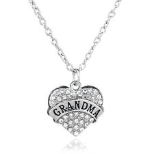 Clear Rhinestone Crystal Heart Grandma Necklace Gifts For Grandmother Jewelry