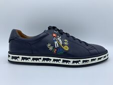 $600 Bally Animals Navy Blue Leather Sneakers size US 12 Made in Switzerland