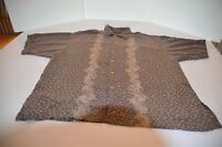 Zylos Men Button Down Hawaiian Shirt Size XL Tan Rayon Short Sleeve