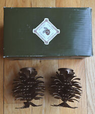 NIB Set-of-2 Season to Remember METAL pinecone taper candle holders copper/brown