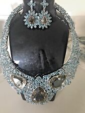 New Custom Huge 1007+ Ct Natural Zircon Quartz CZ Silver SS necklace + Earrings