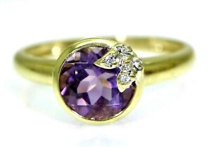Pretty Amethyst & Diamond Butterfly Solitaire 9ct Yellow Gold ring Q ~ 8 1/4
