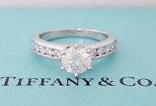 1.23 ct Tiffany & Co Platinum Round Diamond Channel Engagement Ring 3EX E / VVS2
