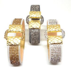 Armband Strass gold silber grau Gürtel  Damen Magnet NEU Wickelarmband Schmuck