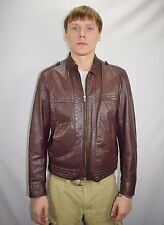 Vintage 80's Men's Brown Leather Jacket Coat by OLEG CASSINI - Size 42 - USA