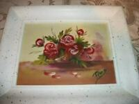 1950s ROSES OIL PAINTING CHUNKY SPATTERED WOOD FRAME FRENCH FARMHOUSE VINTAGE