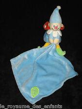 Doudou Lutin Garçon bleu orange jaune Baby Luna mouchoir carré feuille verte