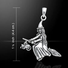 Witch Broom Cat Pagan Wicca .925 Sterling Silver Pendant by Peter Stone