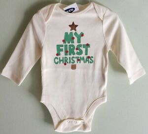 NEW Old Navy Unisex Baby 0-3 3-6 MONTHS My First Christmas Bodysuit Cream #12621