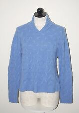 Talbots 100% Cashmere Blue Cableknit V-Neck Sweater L