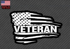 "American flag Veteran sticker decal -Army USMC Military Soldier 10"" (VetAmerFC)"