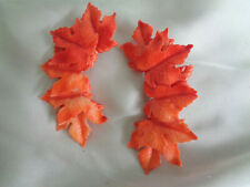 VINTAGE  MAPLE LEAF DESIGN RED EARLY PLASTIC EARRINGS CLIPS 3""
