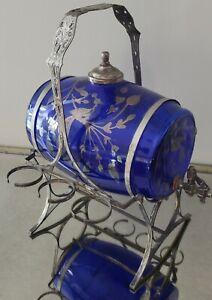Silver Overlay Peacocks CobaltBlue Glass Keg Barrel Beverage Dispenser w/Holder
