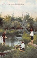 Illinois postcard Belvidere, Scene on the Kishwaukee river boys fishing