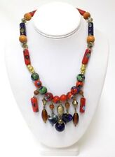 Vintage Tribal Style  Millefiori Bead Necklace w' Wooden & Metal Beads