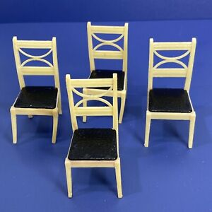 Lot of 4 Vtg Renwal Dollhouse Furniture Dining Room Kitchen Chairs D53 K63