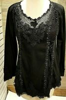 Pretty Angel Women's Lace Ribbon Blouse S,M,LG,XL Vintage Black Boutique NWT
