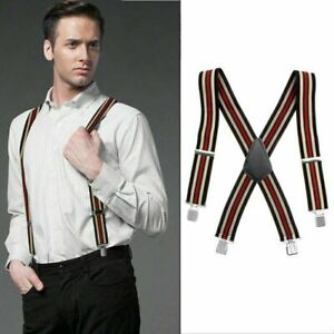 Mens Braces Heavy Duty 50mm Adjustable Grid Plain Suspenders Elastic Trousers UK