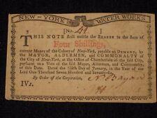 US NY Colonial Currency - 4 shillings - January 6, 1776 ** NY-183 ** (CC-224)