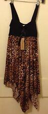 Jon & Anna brown black leopard print handkerchief polyester clubwear dress L