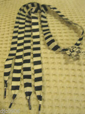 Premium Flat Black & White Stripes Style Rockabilly Punk Shoe laces-New w/Tags!