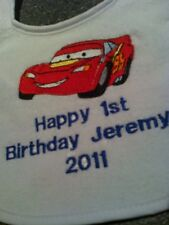 happy first  birthday disney  cars  baby bibs
