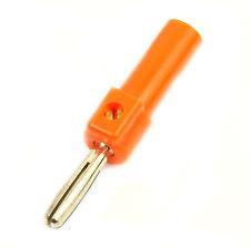 4x FICHE BANANE MALE 4mm DE SECURITE ISOLEE PLASTIQUE ORANGE lot de 4 fiches