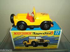 MATCHBOX SUPERFAST modèle No.72b Standard Jeep VN En parfait état, dans sa boîte