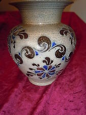 VINTAGE OLD HAND MADE GERMAN POTTERY SIGNED SALT GLAZE BLUE VASE JAR URN JUG