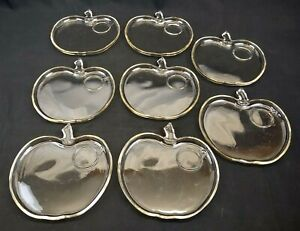 8 Hazel Atlas Orchard Clear Glass Apple Snack Plates No Cups