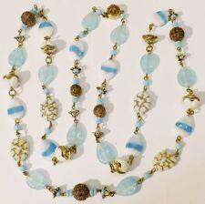 Bijou Vintage collier ancien rare porcelaine bleu perle diverses gravé * 5066