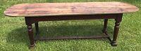 "Antique Ca. 1880s 102"" x 28"" Farm House Table Seats 10 Oak Base 3 Board Pine Top"