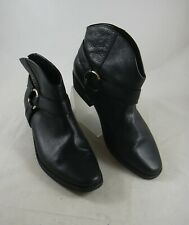 Joie Black Leather Alinn Western Ankle Boots Womens 41 Pull on Harness Bootie