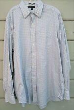 Saks Fifth Avenue 100% 2-Ply Cotton White Blue Plaid LS Shirt Men's 17 36/37 XLT