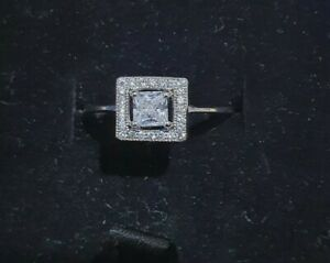 Next 925 Sterling Silver Square Halo Engagement Ring