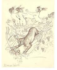 Beautiful Original Pencil Drawing circa 1920 Tigers Attack Nude Women / Nymphs