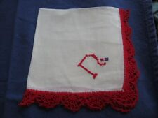 "White Handkerchief with Red monogram ""N"". Red Crocheted Edge"