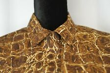 New Le Caviar Blouse Size Smalk Colorful Button Down Cute Snake Pattern Casual