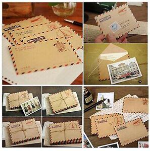 20Pcs Vintage Envelopes Mini Retro Airmail Brown Kraft Paper - UK STORE