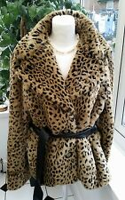 BRAETAN FAUX FUR LEOPARD COAT SIZE LARGE STUNNING WITH BELT AND BIG BUTTONS