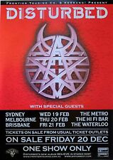 DISTURBED Original 2003 Australian A2 TOUR POSTER Metal Rock Music SYD MEL BNE