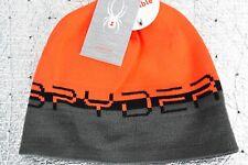 NEW Men's SPYDER Winter Reversible WORD HAT ONE SIZE Orange Grey 726307 016 $30
