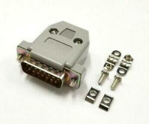 DB 15 Pin Male D-Sub Cable Mount Connector w/ Plastic Cover & Hardware DB15