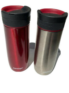 Contigo 20 oz. Stainless Steel Travel Red Silver Mug Twist Seal Qty 2
