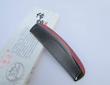 Nice 6-3 QiaoYaTou Black Buffalo Horn Comb Health Care Comb Violet Wood Rim