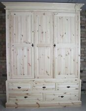 NEARLY NEW UNFINISHED SOLID PINE 5FT TRIPLE WARDROBE - 2 DOOR 3 OVER 2 DRAWERS