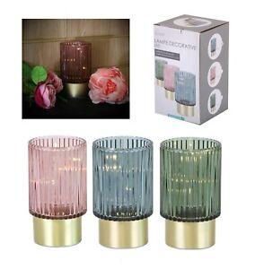 Battery Operated LED Desk Industrial Lamp Light Up Bedside Lantern Home Glass