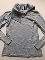 White House Black Market XS Blue Lace Up Metallic Wool Blend Turtleneck Sweater